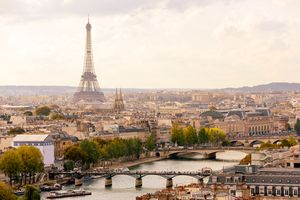 Paris cityscape with Eiffel Tower and Seine river, high angle view
