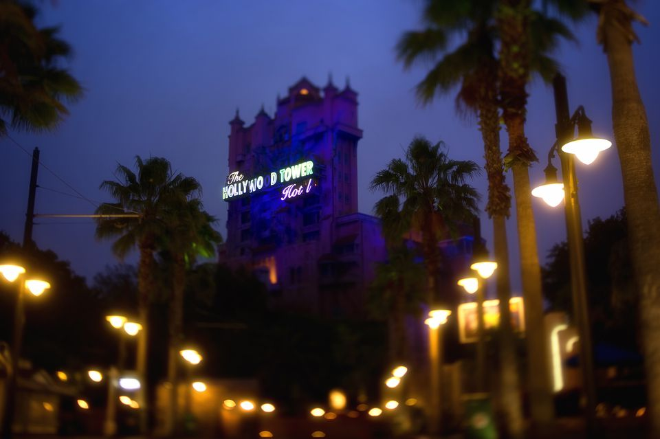 Disney Tower of Terror ride at night