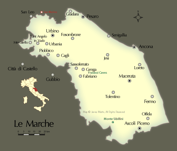 Map Of Cities In The Marche Region Of Central Italy