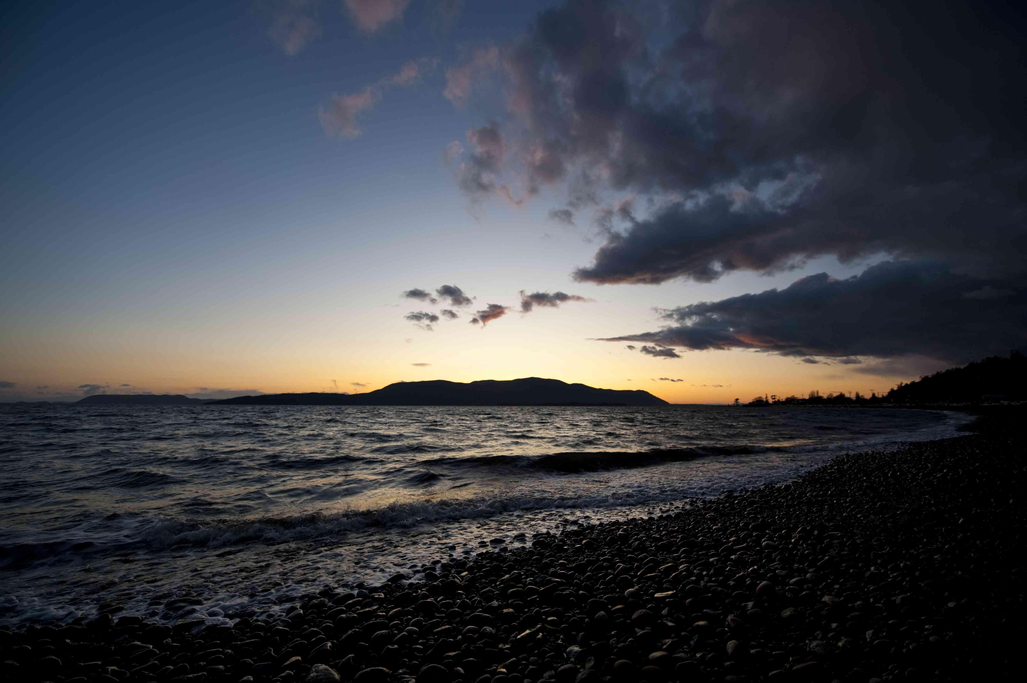 Sunset View of Orcas Island from a Lummi Island Beach.