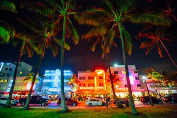 Ocean Drive and Art Deco District in South Beach, Miami at night, Florida, USA