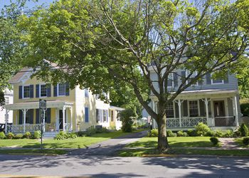 19th century historic homes on Route 308 in Rhinebeck, Dutchess County, New York