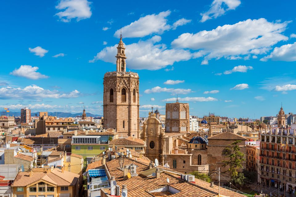 Vista de alto ángulo sobre el horizonte de Valencia España