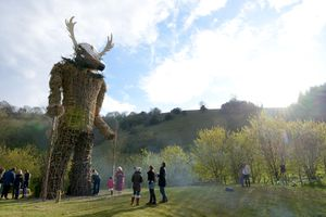 Preparing to burn the Wickerman for Beltain at Butser Ancient Farm