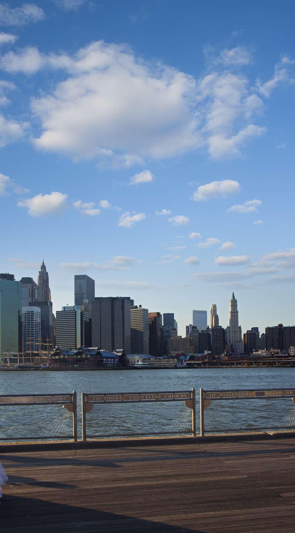 A bride against the Manhattan skyline.