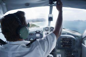 Pilot in cockpit of seaplane