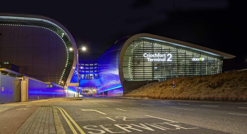 Dublin Airport Terminal 2 illuminated at night
