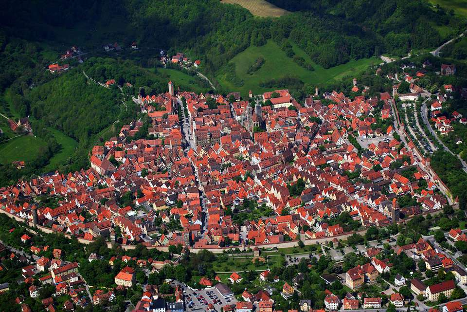 Arial view of Rothenburg ob der Tauber, Bavaria, Germany, Europe
