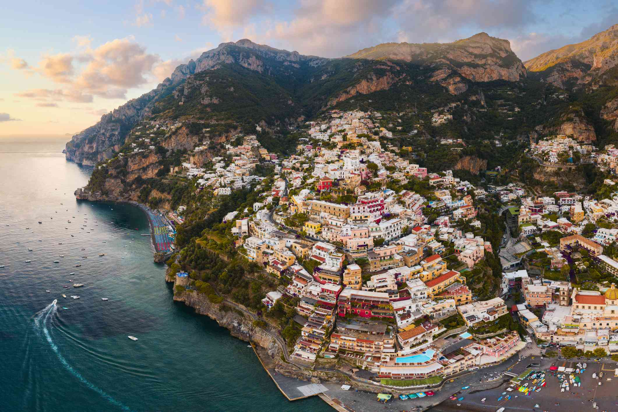 Positano, Amalfi Coast, Italy. Aerial view.