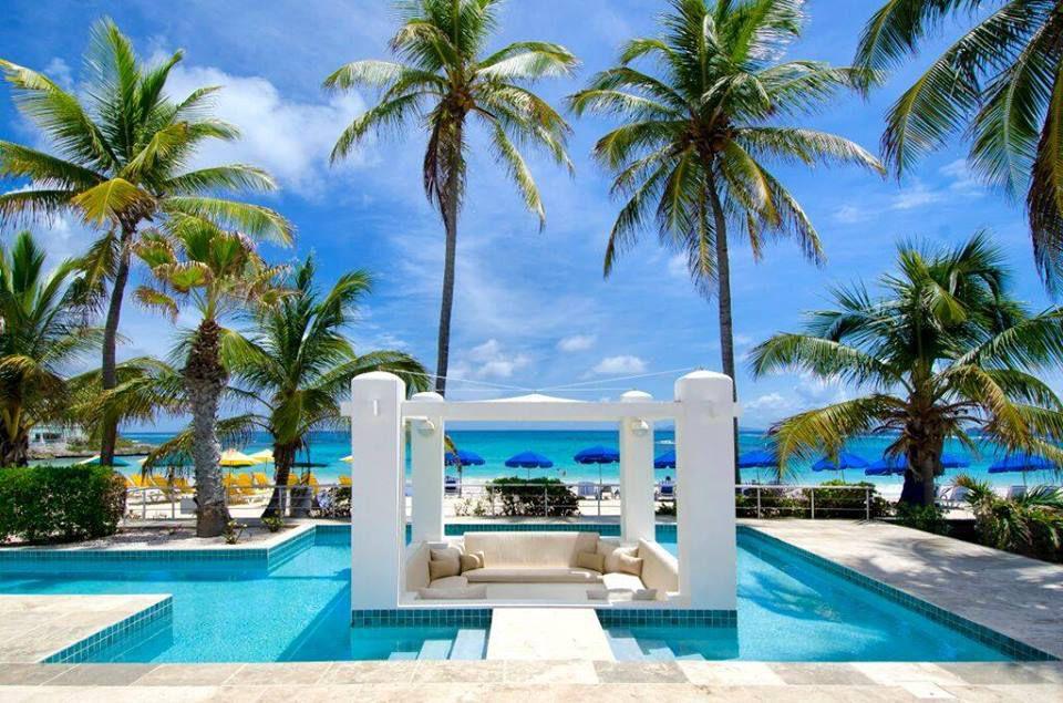 Cabana in a private pool at Coral Beach Club Villas
