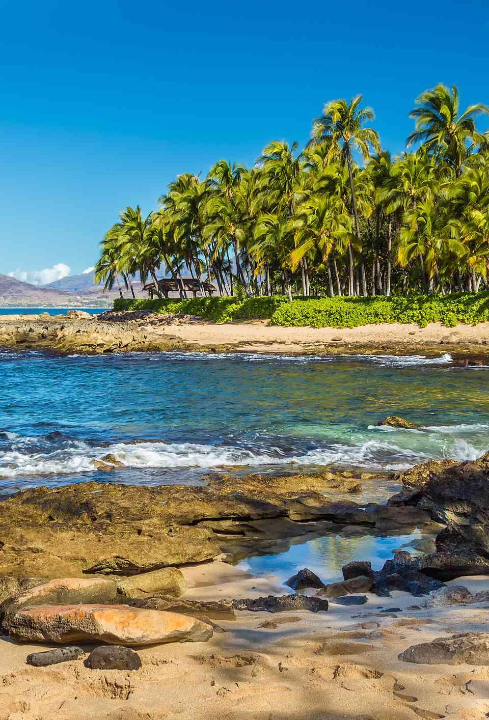 One of the secret beaches near Ko Olina resort on Leeward Oahu, Hawaii