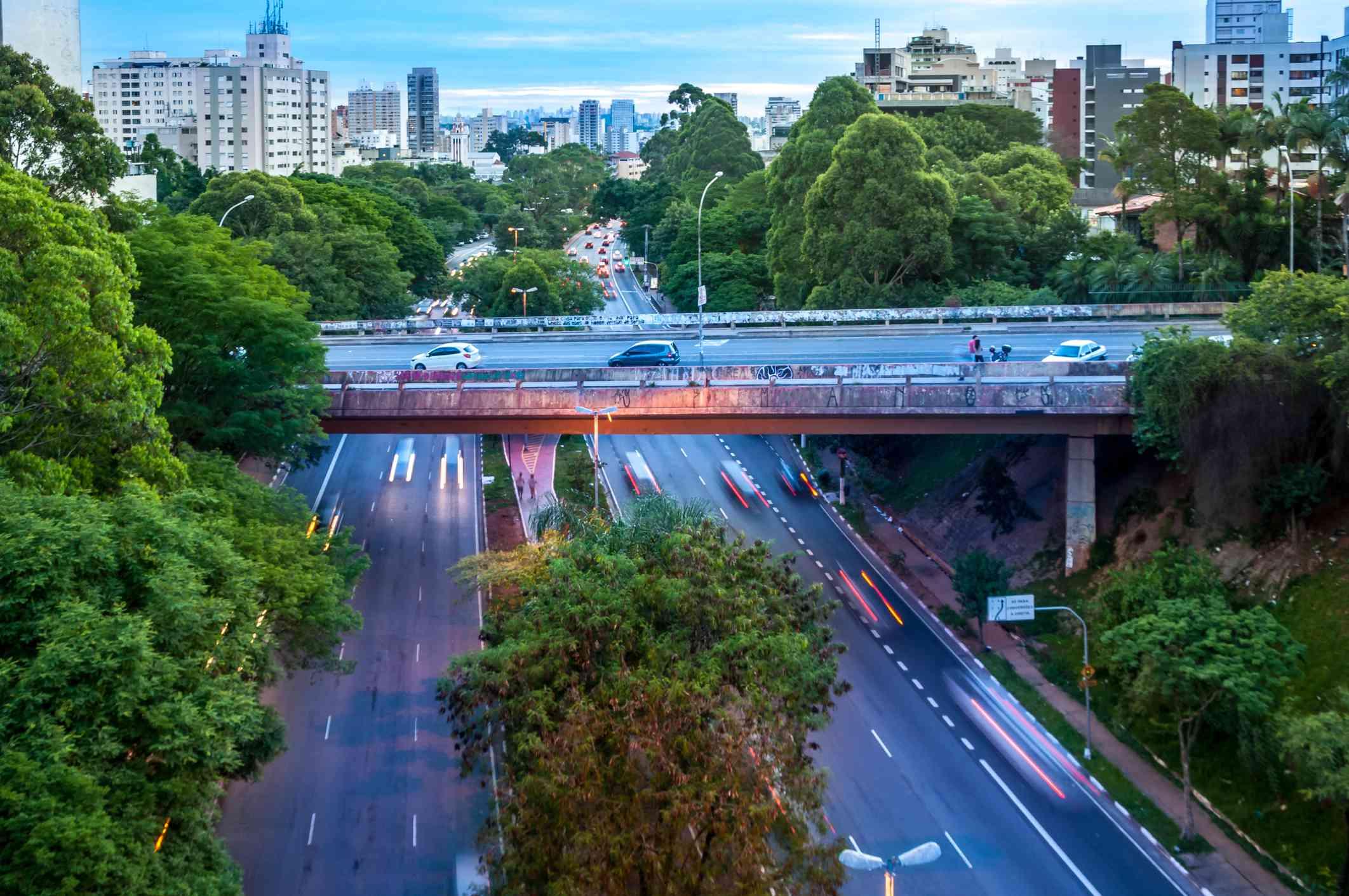 Famous Oscar Freire street, where it's a bridge over Paulo VI Avenue
