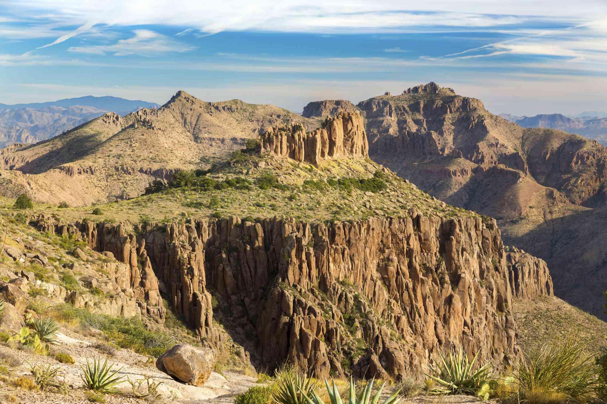 Superstition Mountains Landscape from Flatiron Peak east of Apache Junction near Phoenix Arizona