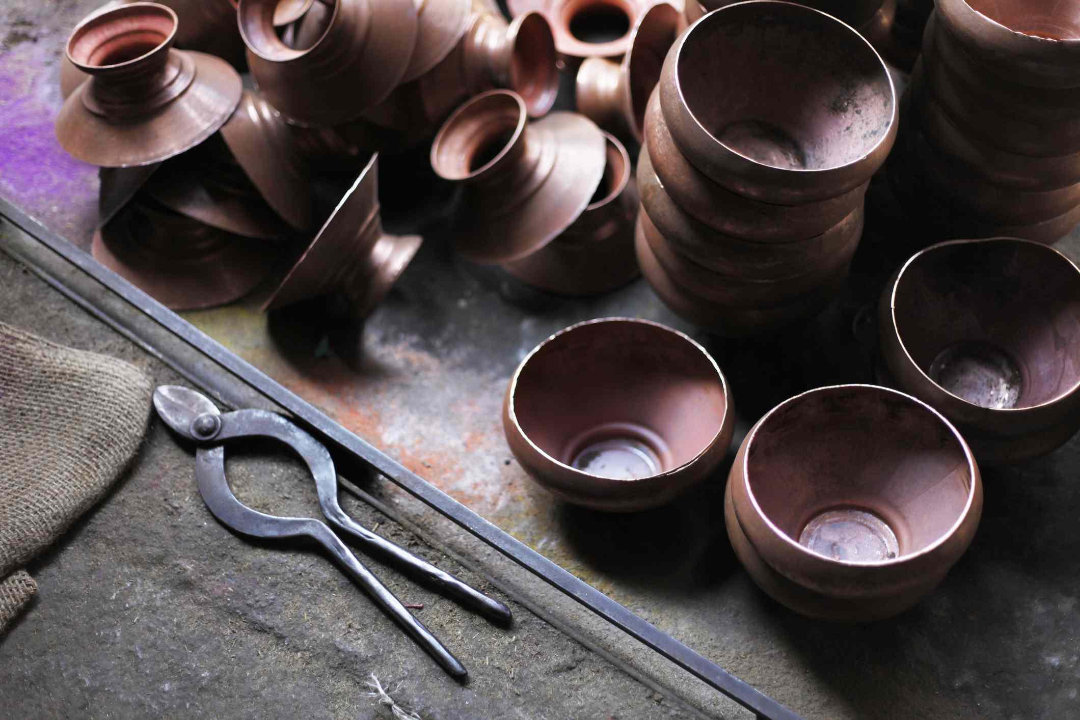 Copper utensils at Tambat Ali, Copper market, Pune