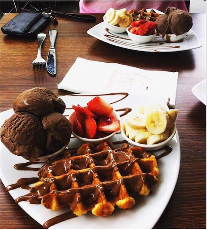 Waffle with chocolate drizzle and toppings