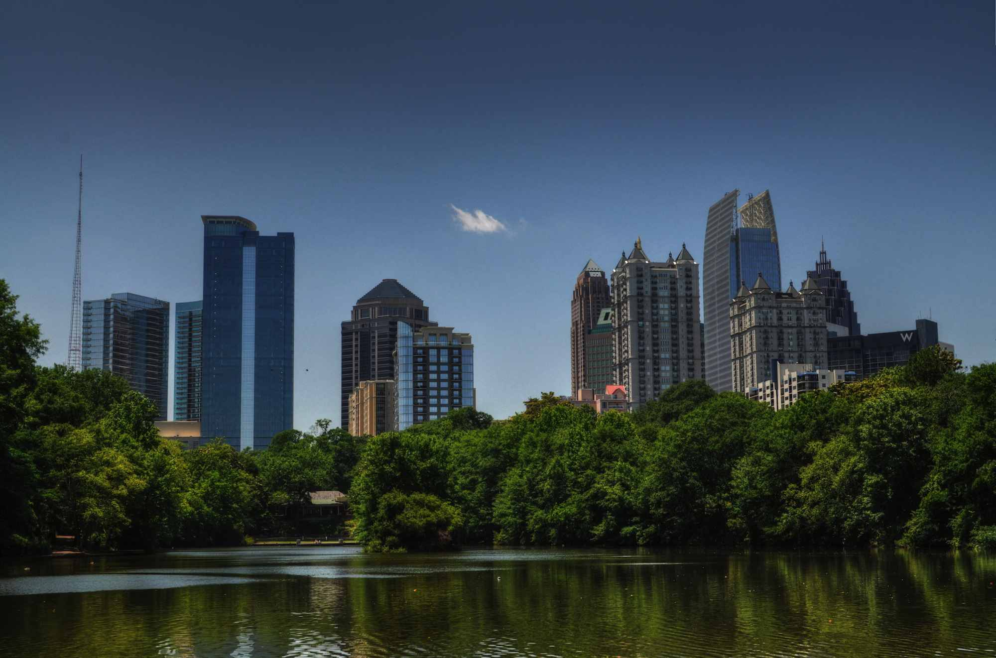 The skyline of Midtown Atlanta over Piedmont Park