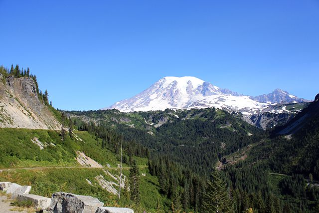 View of Mount Rainier from Stevens Canyon Overlook in Mount Rainier National Park