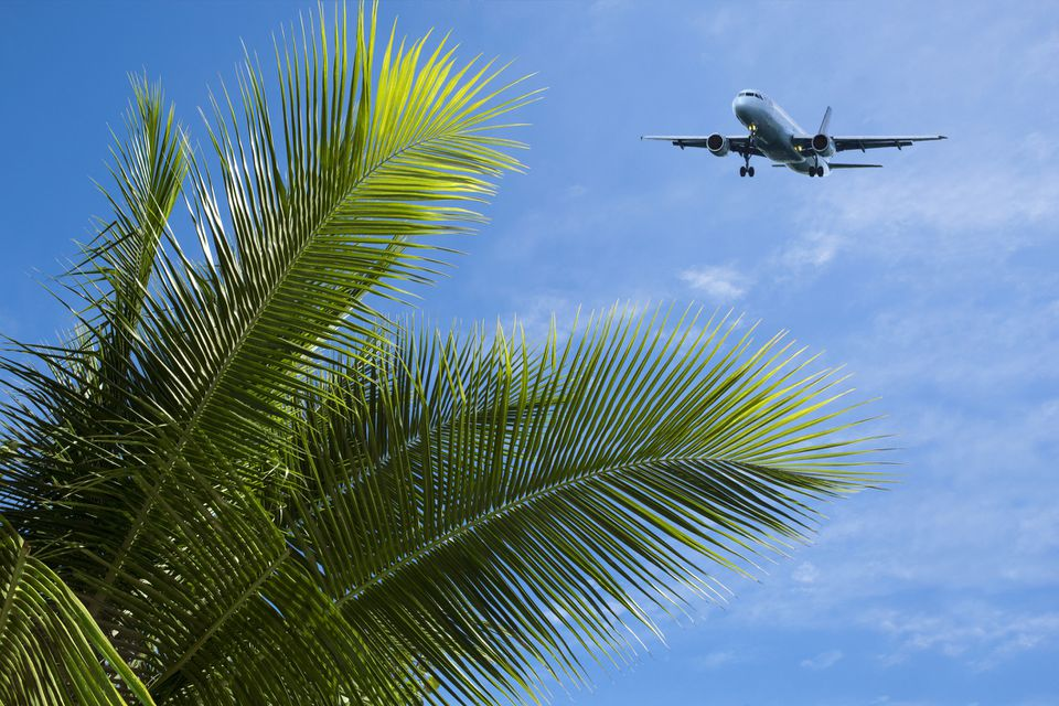Plane flying in Jamaica