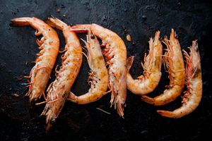 Prawns on a barbecue