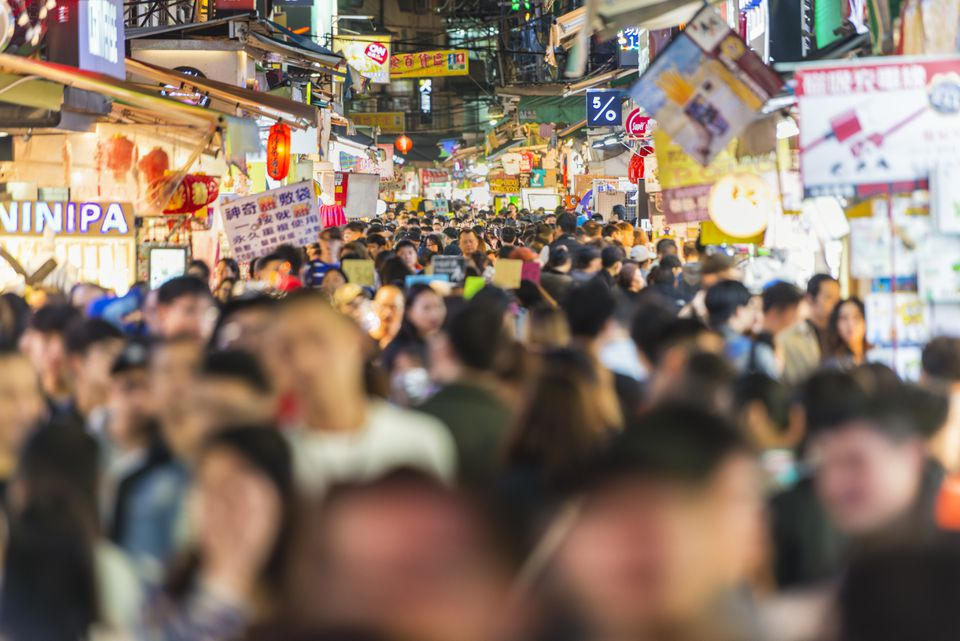 Shilin night market crowds