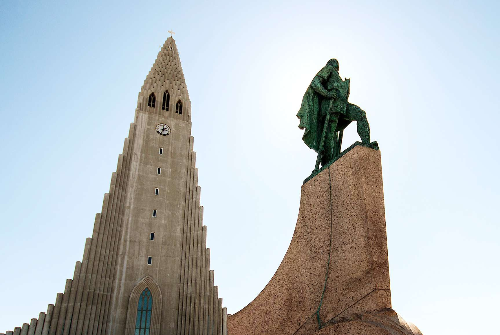 View of Hallgrimskirkja and the statue out front