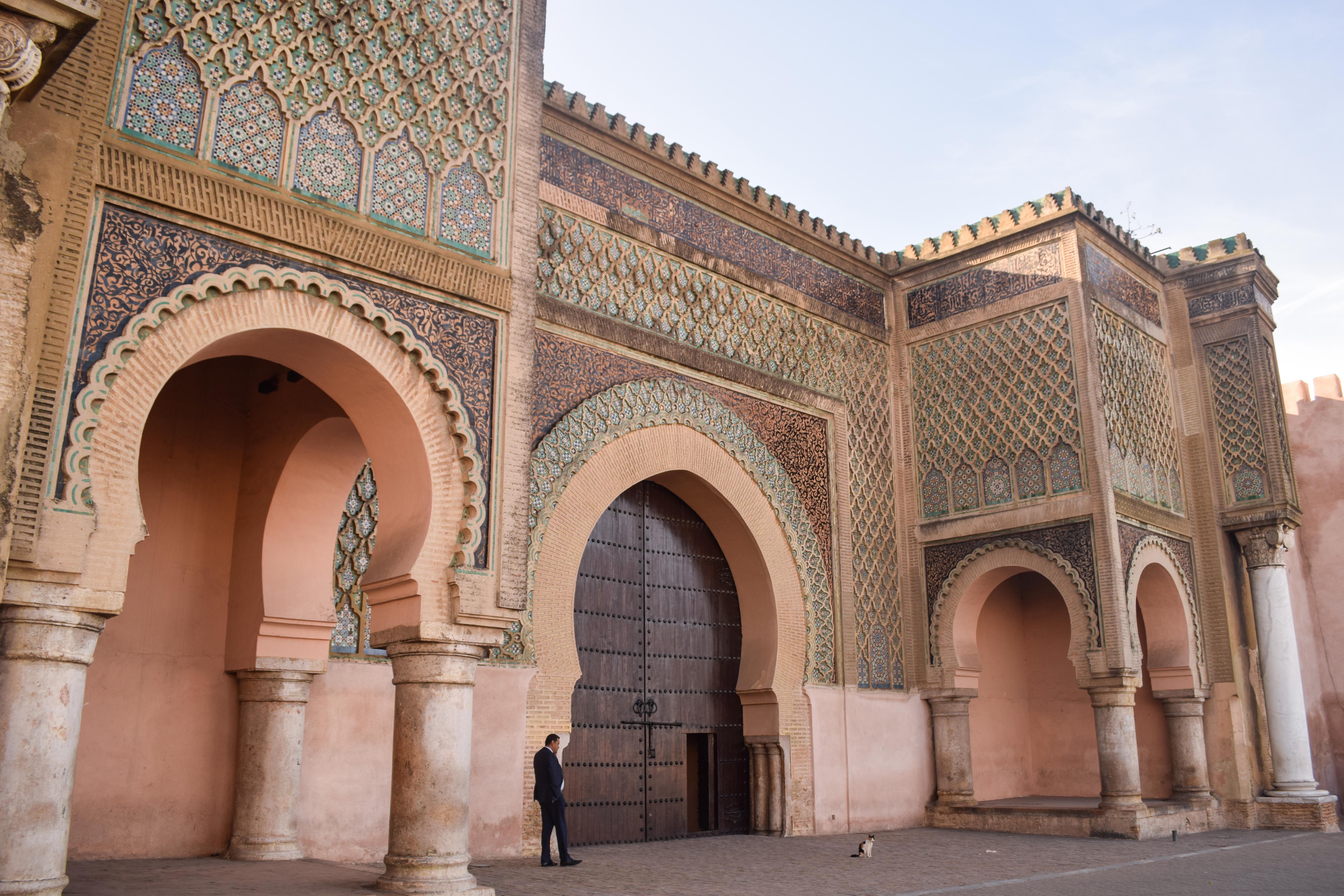 large tiled archways in Meknes