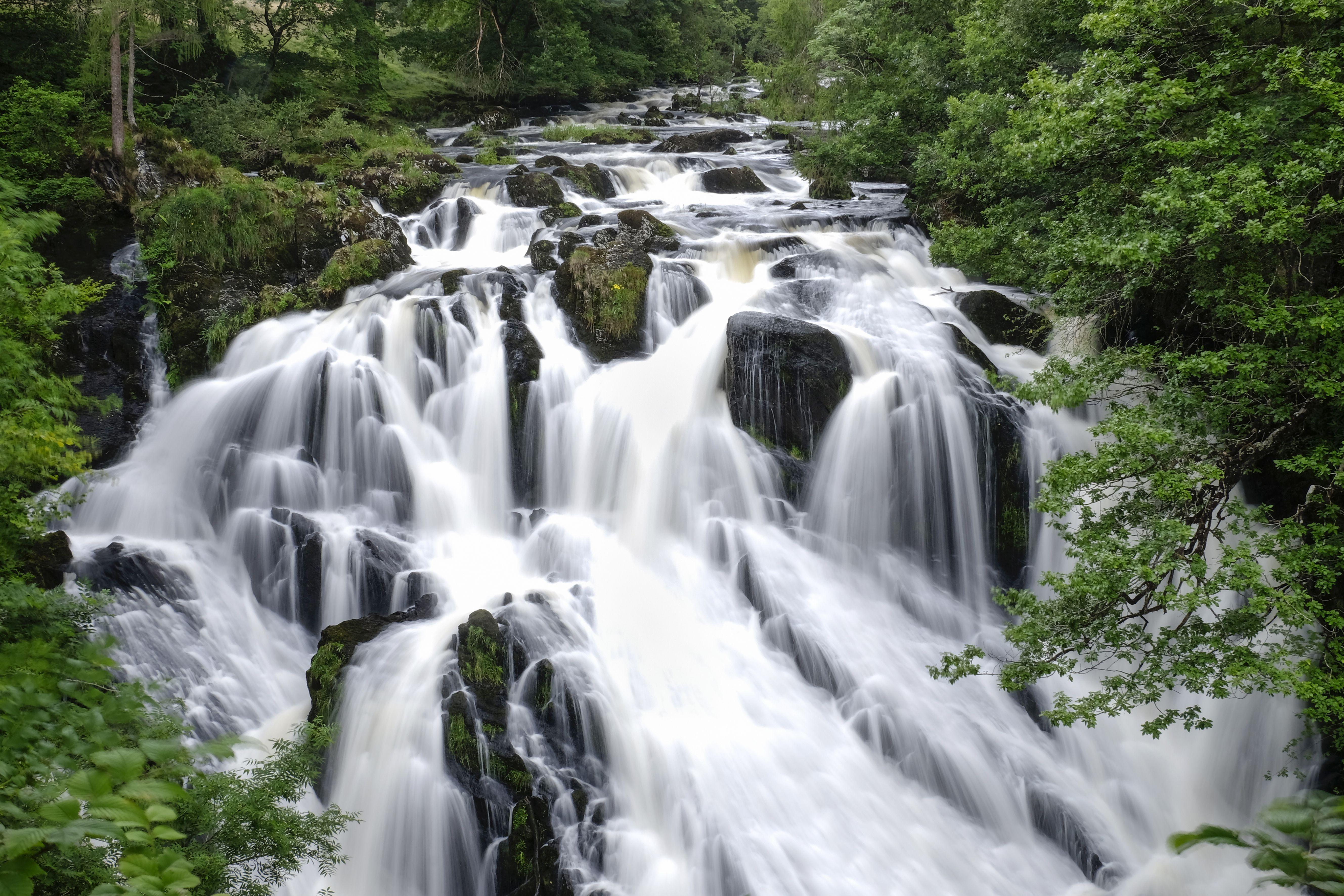 Swallow Falls waterfall on the Afon Llugwy in summer near Betws y Coed