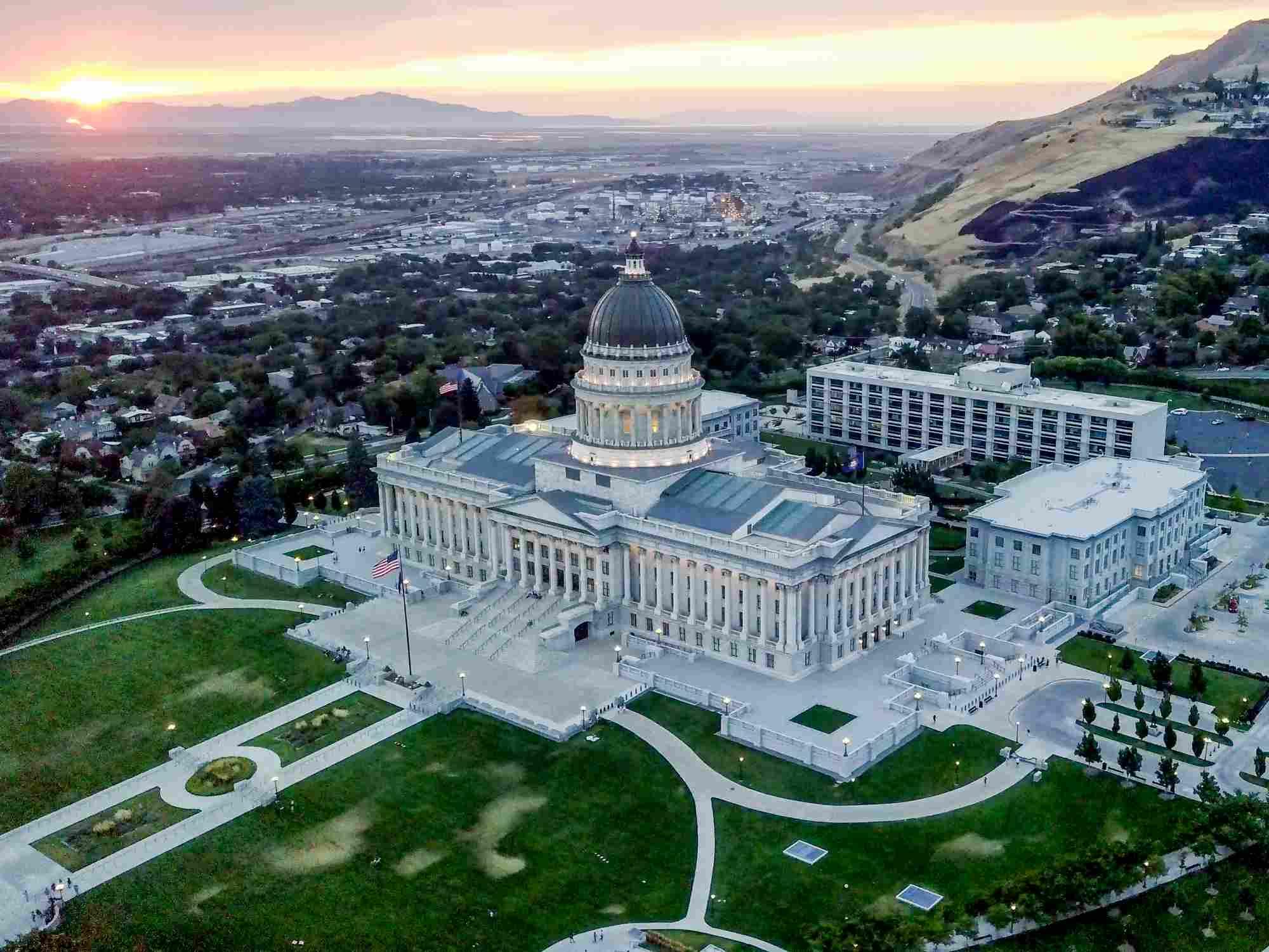 Aerial Shot of the Utah State Capitol Building and Downtown Salt Lake City Utah
