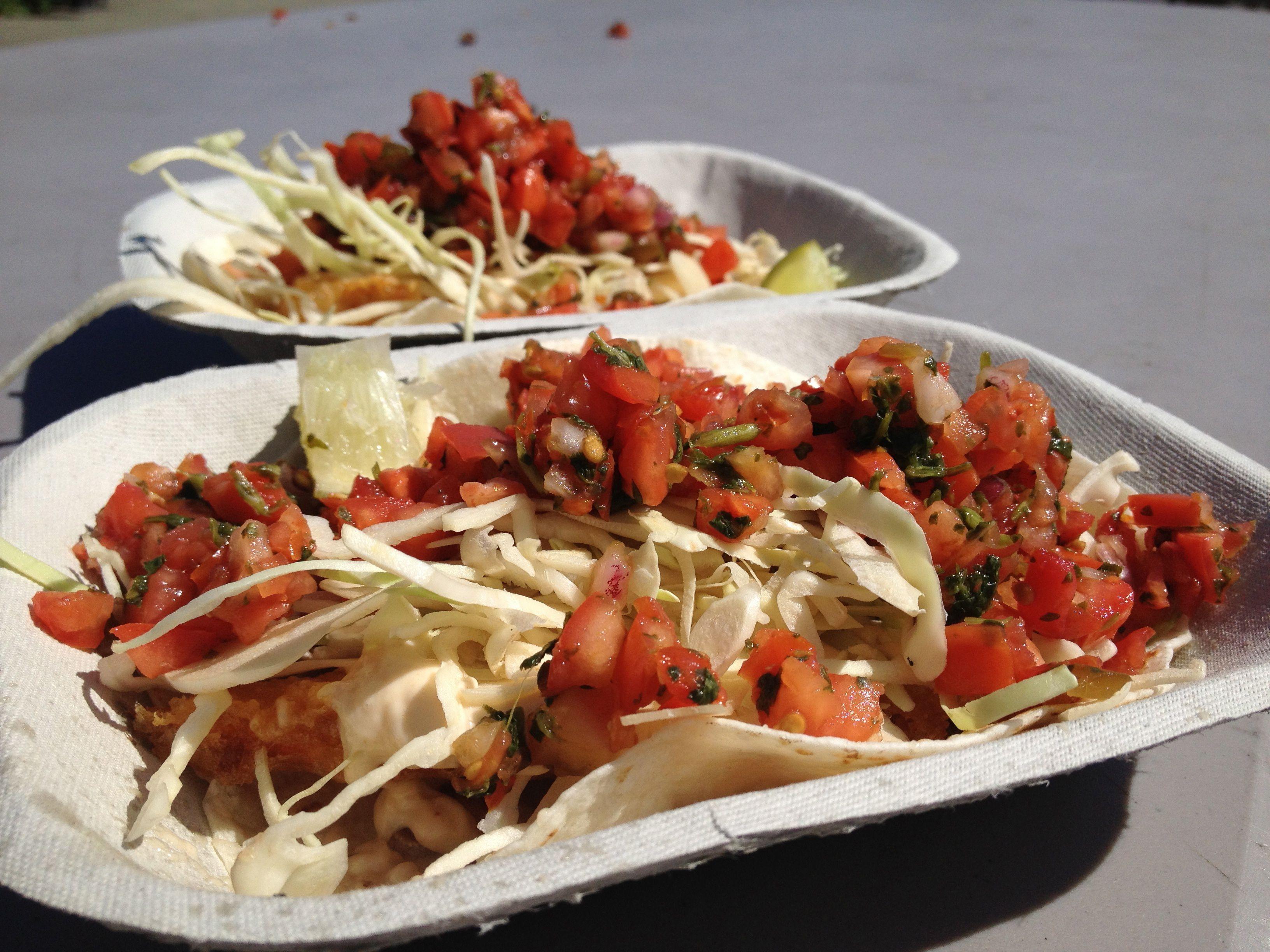 Tacos served at Tacofino Victoria.