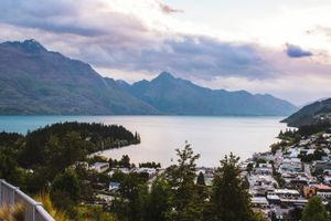 View of the mountains surrounding the lake in Queenstown
