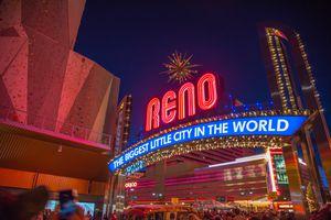 Reno Sign lit up at night