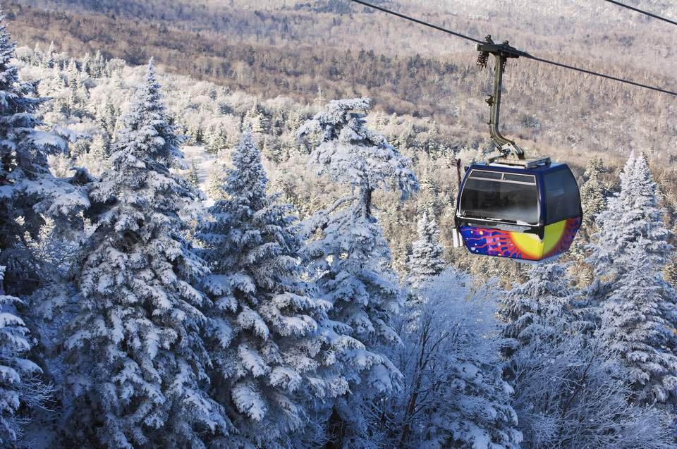 Ski gondola above the treetops, Killington Ski Resort.