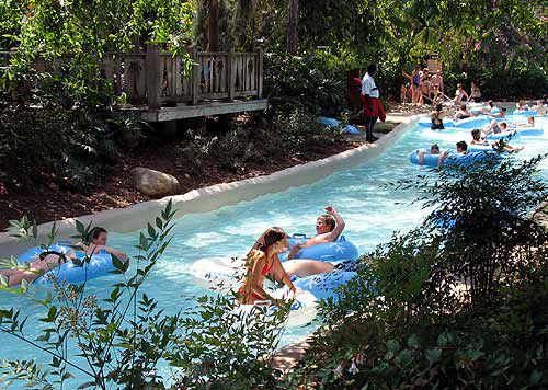 The Cross Country Creek lazy river travels around the outside edge of Blizzard Beach.