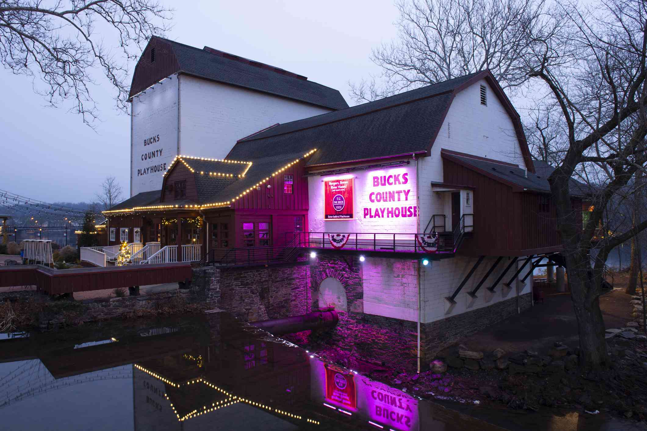 Christmas light decorated Bucks County Playhouse In New Hope PA