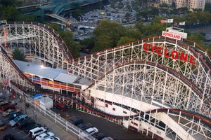 Aerial of the Coney Island Cyclone Roller Coaster