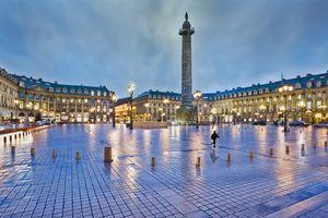 Place Vendome in the rain at sunset, Paris