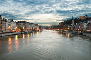 Lyon, France, sunset over the Saone river