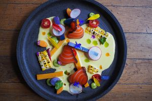 Artfully arranged salmon sashimi on a black circular plate with charred corn, carrot sticks, cherry tomatoes, purple potatoes, and thinly sliced radish with a creamy sauce