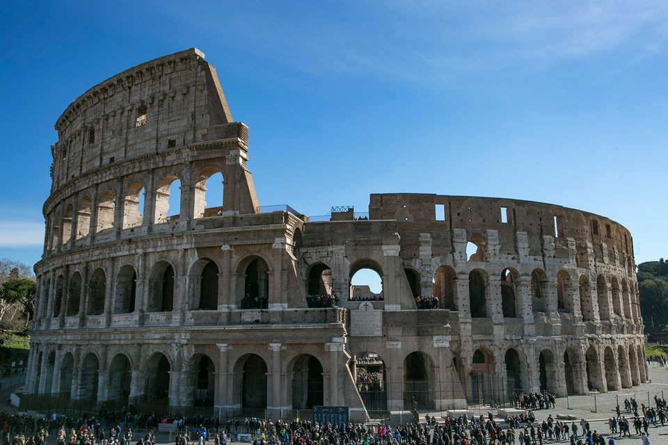 Colosseum, Rome, against Blue sky
