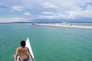 Chartered boat arriving at Pontod Island near Panglao, Philippines