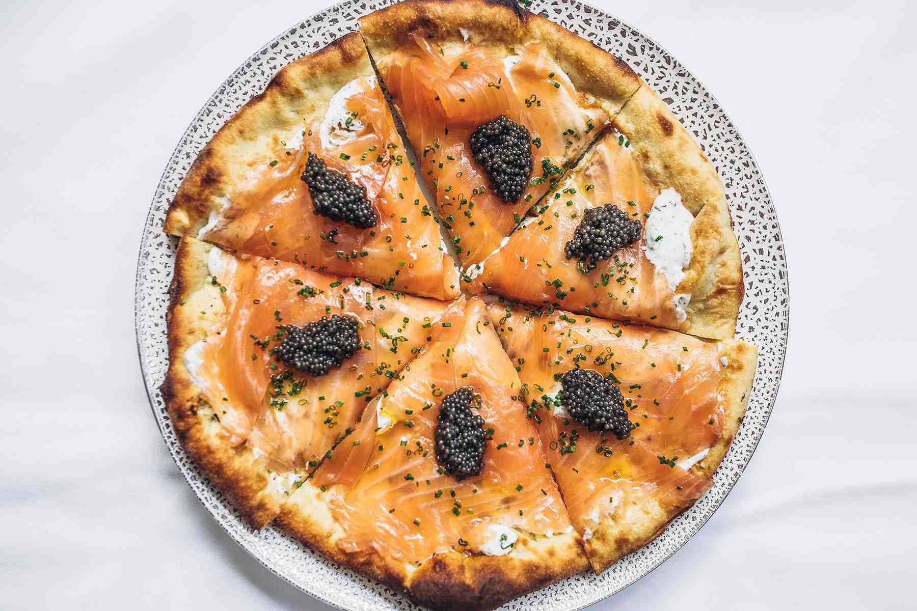 Smoked salmon and caviar pizza at Spago