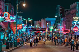 A picture of the famous Beale Street at night