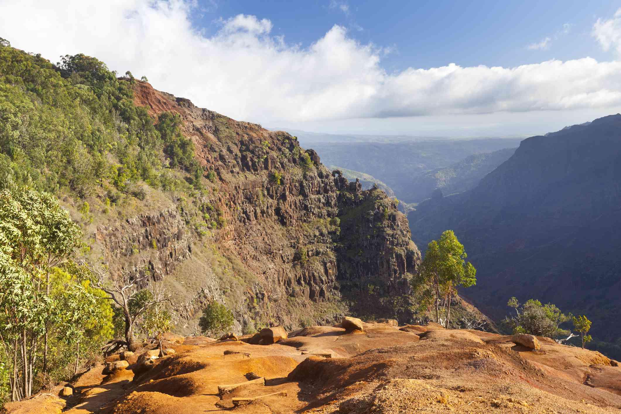 Waimea Canyon trail on the island of Kauai