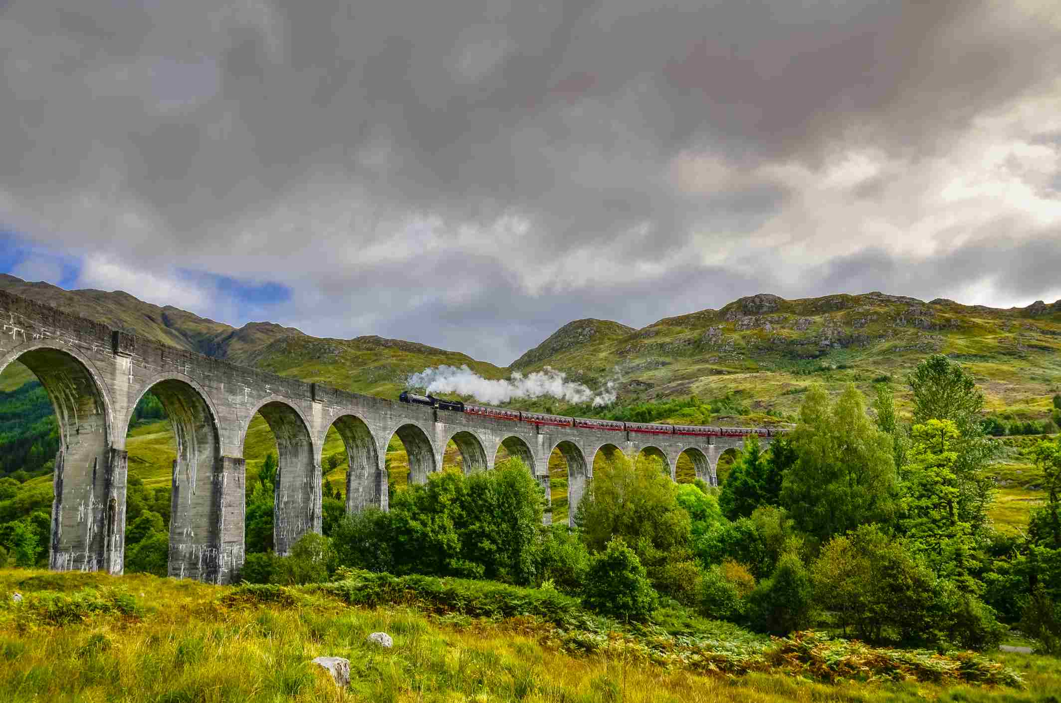 UK, Scotland, Highland, Jacobite Steam Train, crossing the Glenfinnan Viaduct with Loch Shiel in the background