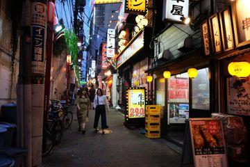 Alleyway full of bars in Tokyo's Memory Lane neighborhood