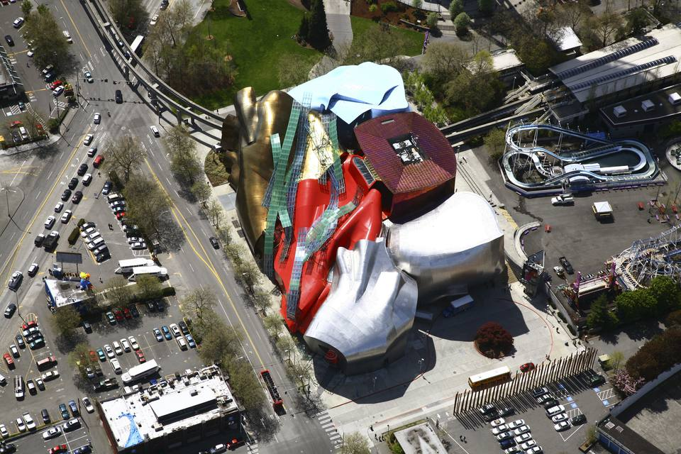 Aerial view of the Experience Music Project, EMP, music museum of the grounds of the Seattle Center, Seattle, WA