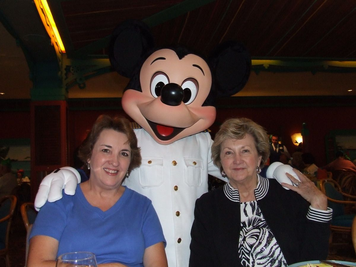Mickey Mouse with Linda and friend Juanda on the Disney Magic