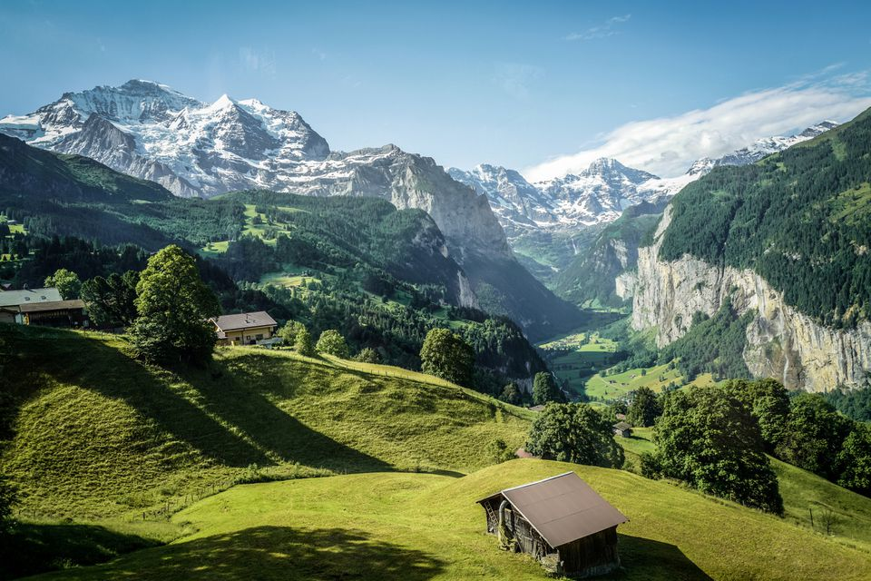 Famous Jungfrau mountain with forest and valley, Swiss Bernese Alps, Switzerland