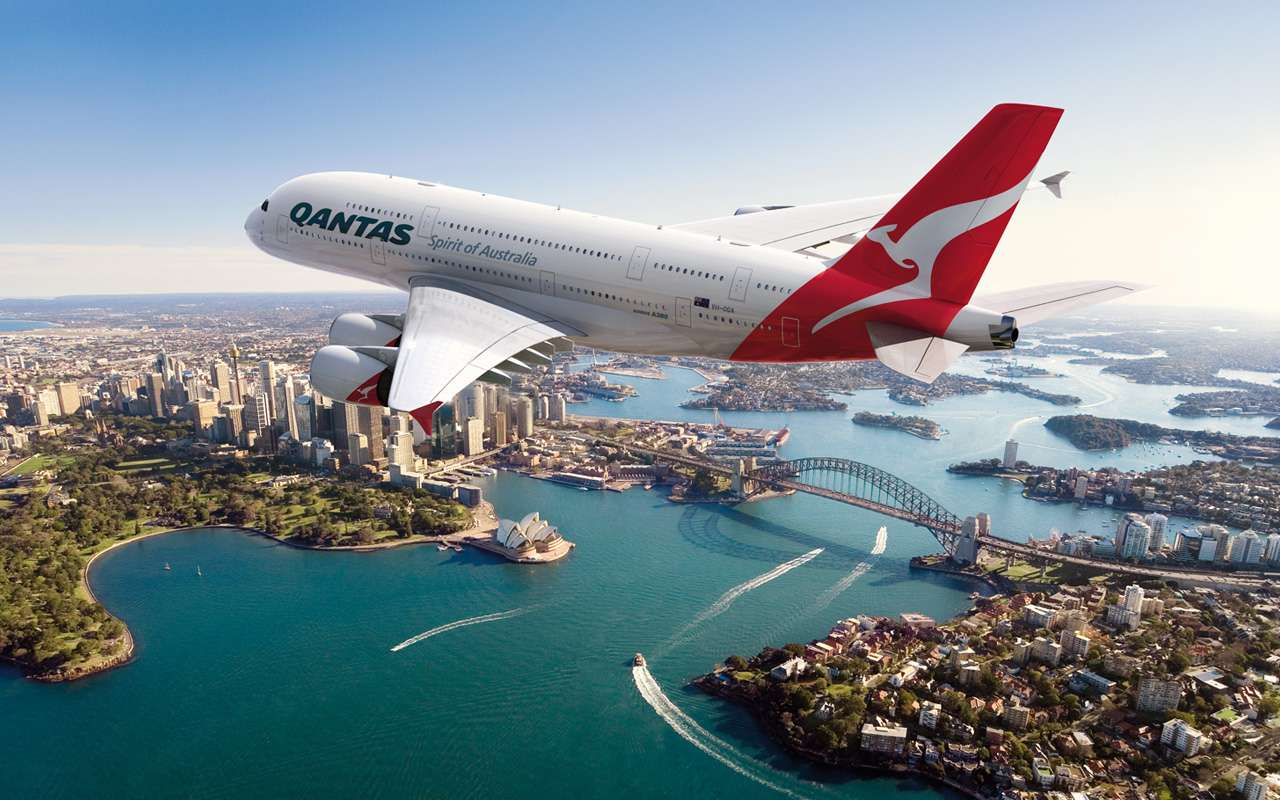 Qantas A380 flying over Sydney