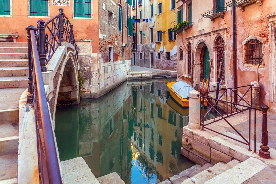 Canal and footbridge in Venice